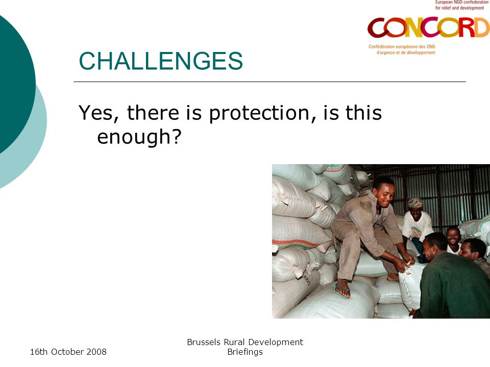 16th October 2008 Brussels Rural Development Briefings CHALLENGES Yes, there is protection, is this enough?