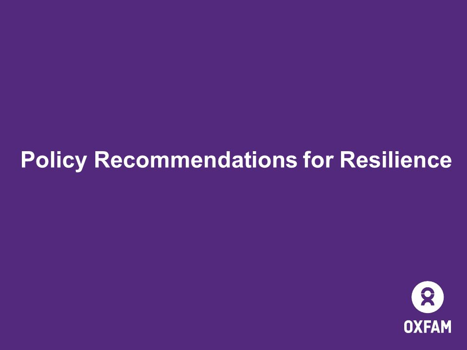 Policy Recommendations for Resilience