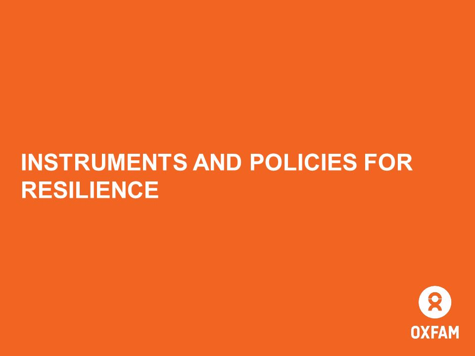 INSTRUMENTS AND POLICIES FOR RESILIENCE