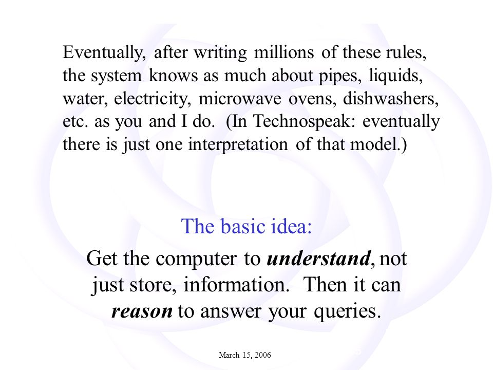 March 15, 200623 2 July 2005 The basic idea: Get the computer to understand, not just store, information.
