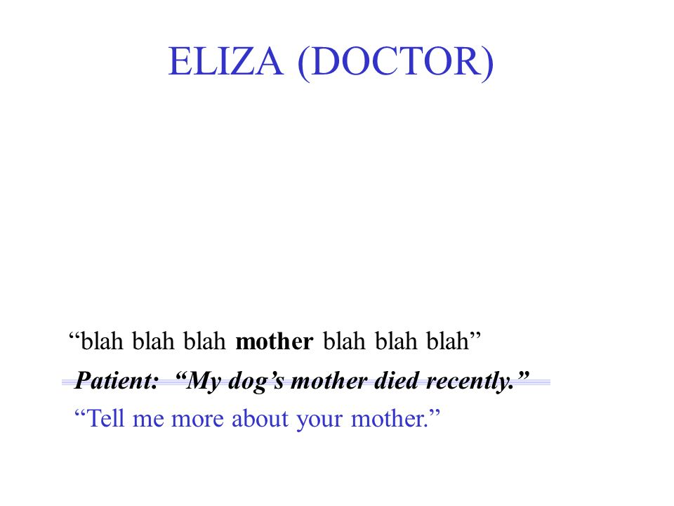 blah blah blah mother blah blah blah ELIZA (DOCTOR) Patient: My dogs mother died recently.