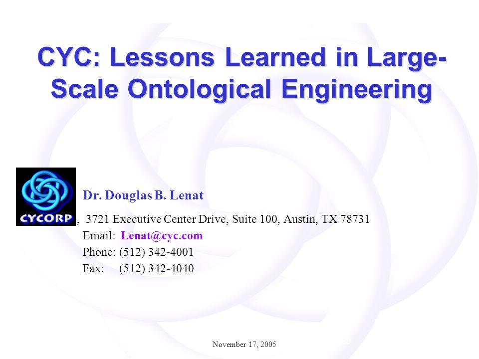 November 17, 2005 1 Dr. Douglas B.