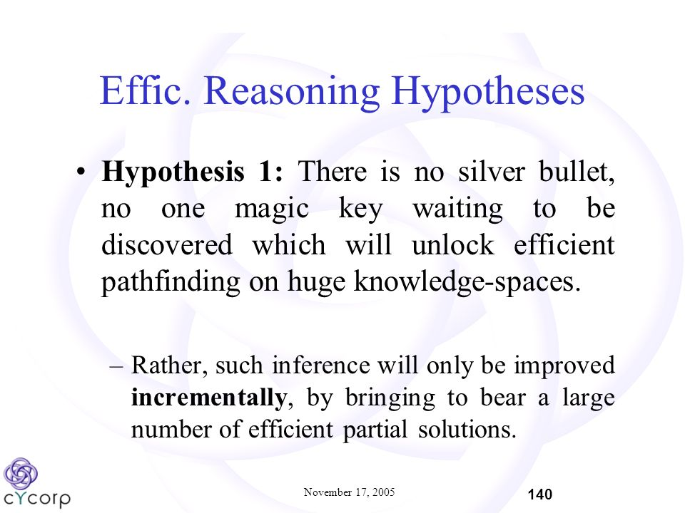 November 17, 2005 140 Effic. Reasoning Hypotheses Hypothesis 1: There is no silver bullet, no one magic key waiting to be discovered which will unlock