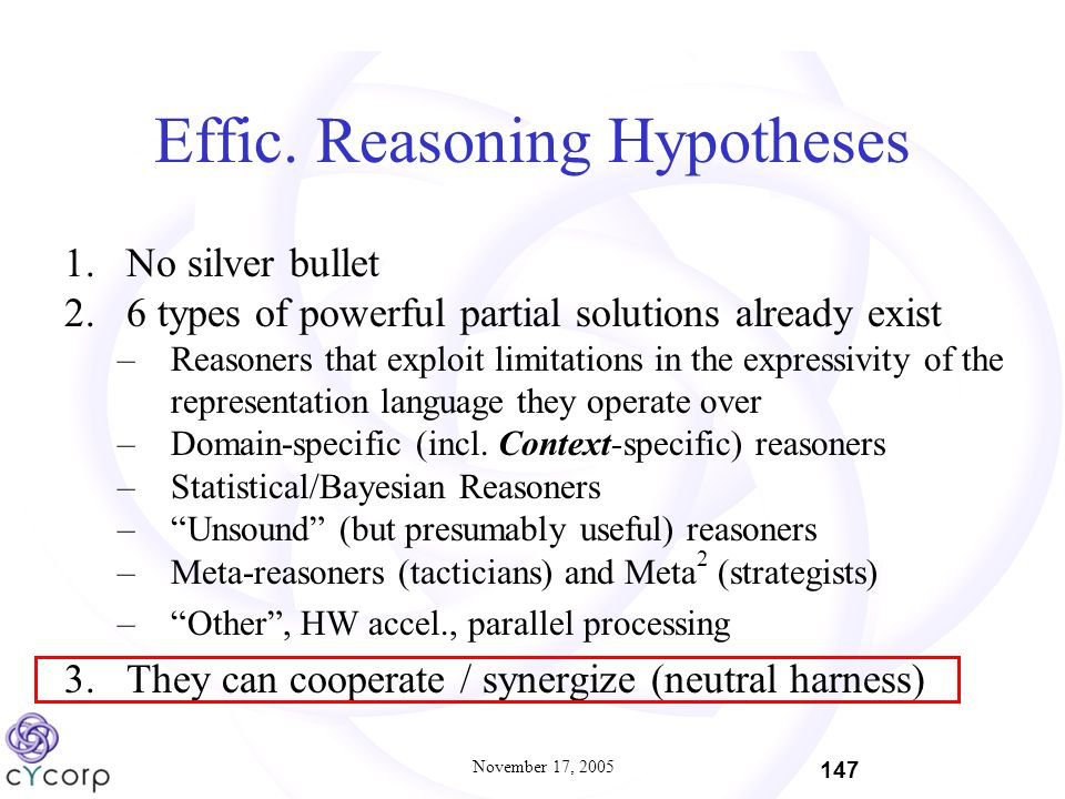November 17, 2005 147 Effic. Reasoning Hypotheses 1.No silver bullet 2.6 types of powerful partial solutions already exist –Reasoners that exploit lim