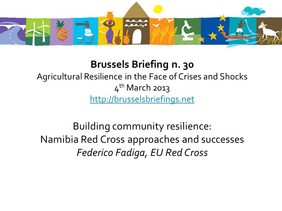 Building community resilience: Namibia Red Cross approaches and successes Federico Fadiga