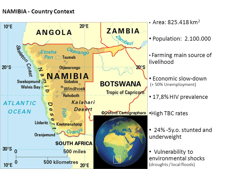 NAMIBIA - Country Context Area: 825.418 km 2 Population: 2.100.000 Farming main source of livelihood Economic slow-down (+ 50% Unemployment) 17,8% HIV prevalence High TBC rates 24% -5y.o.