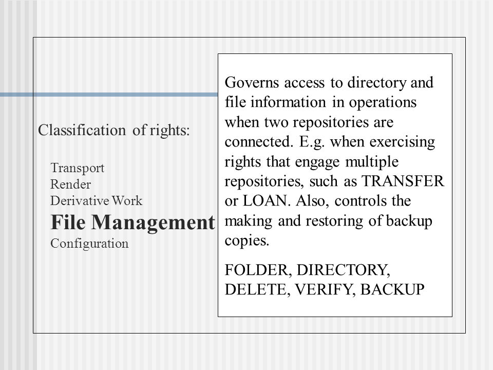 Classification of rights: Transport Render Derivative Work File Management Configuration Governs access to directory and file information in operations when two repositories are connected.