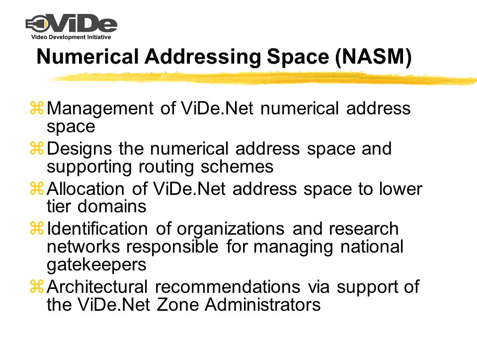 Numerical Addressing Space (NASM) zManagement of ViDe.Net numerical address space zDesigns the numerical address space and supporting routing schemes