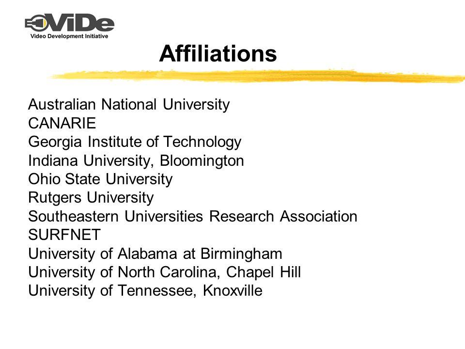 Affiliations Australian National University CANARIE Georgia Institute of Technology Indiana University, Bloomington Ohio State University Rutgers Univ