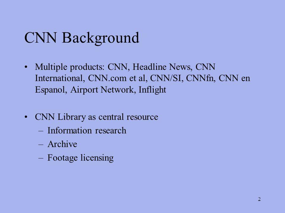 2 CNN Background Multiple products: CNN, Headline News, CNN International, CNN.com et al, CNN/SI, CNNfn, CNN en Espanol, Airport Network, Inflight CNN Library as central resource –Information research –Archive –Footage licensing