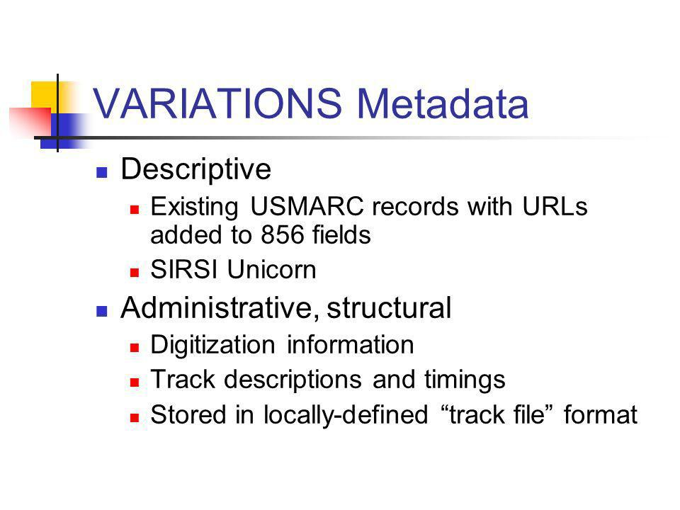 VARIATIONS Metadata Descriptive Existing USMARC records with URLs added to 856 fields SIRSI Unicorn Administrative, structural Digitization information Track descriptions and timings Stored in locally-defined track file format