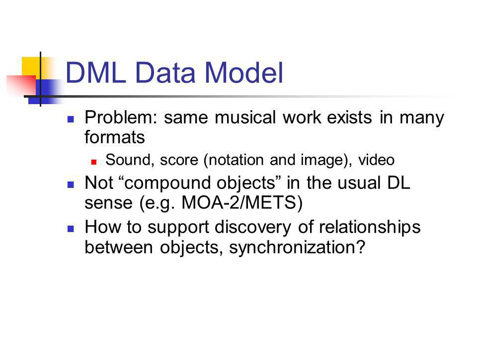 DML Data Model Problem: same musical work exists in many formats Sound, score (notation and image), video Not compound objects in the usual DL sense (e.g.