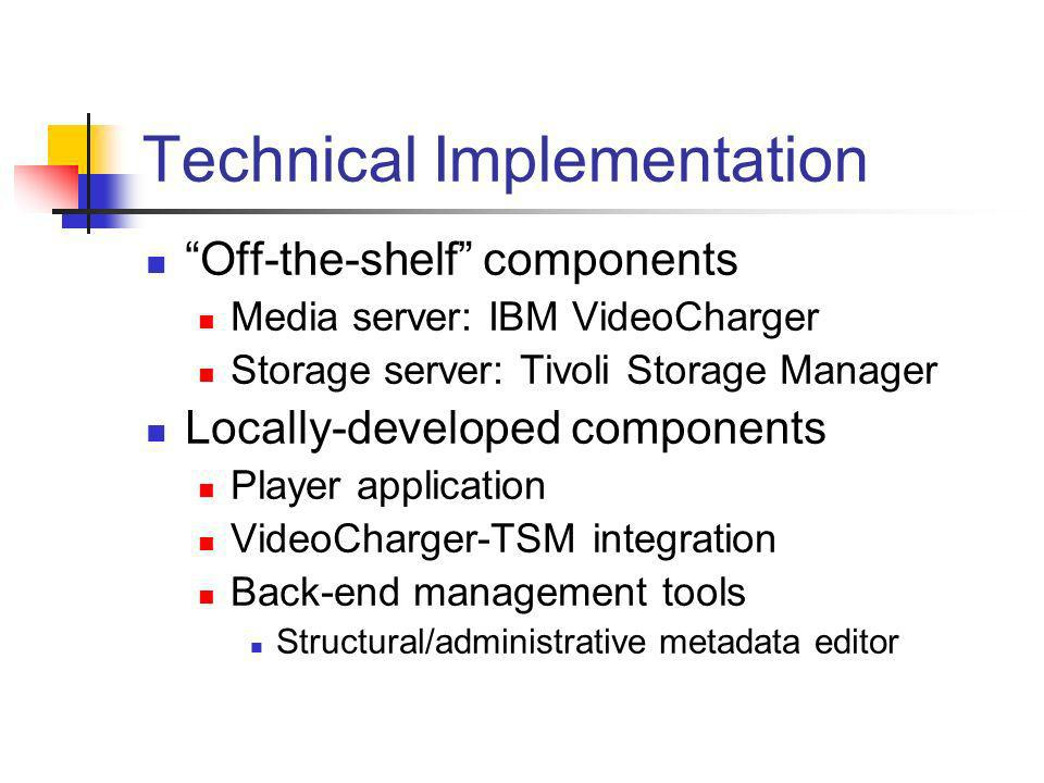 Technical Implementation Off-the-shelf components Media server: IBM VideoCharger Storage server: Tivoli Storage Manager Locally-developed components Player application VideoCharger-TSM integration Back-end management tools Structural/administrative metadata editor