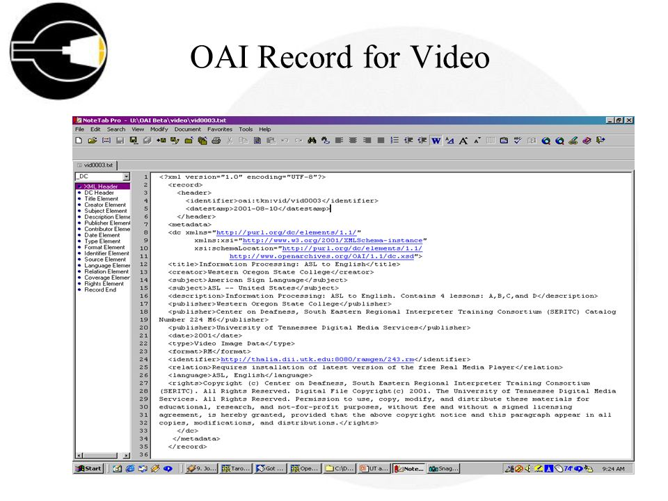 OAI Record for Video