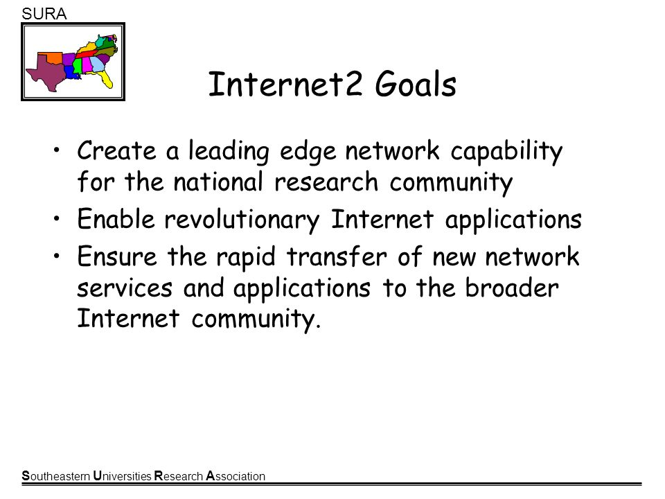 S outheastern U niversities R esearch A ssociation SURA Internet2 Goals Create a leading edge network capability for the national research community Enable revolutionary Internet applications Ensure the rapid transfer of new network services and applications to the broader Internet community.