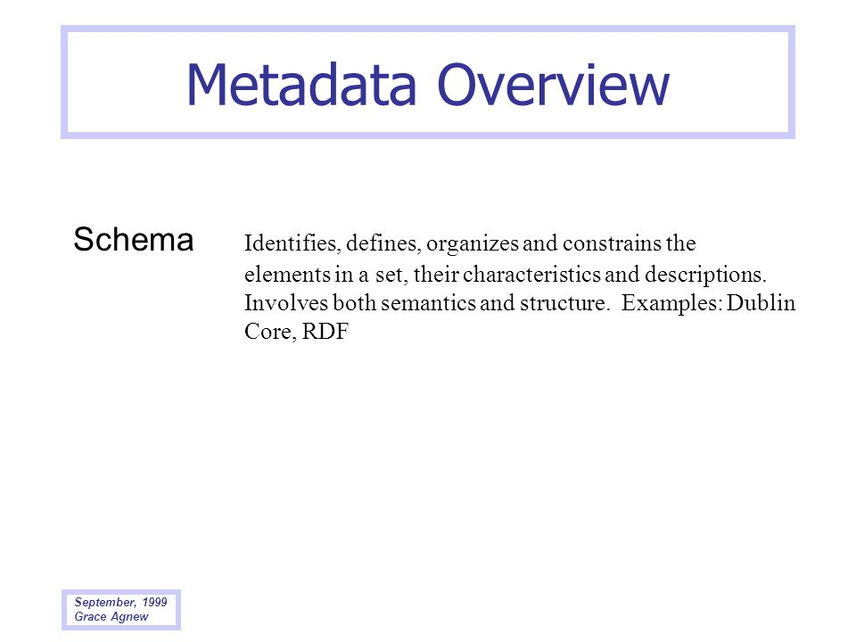 September, 1999 Grace Agnew Metadata Overview Schema Identifies, defines, organizes and constrains the elements in a set, their characteristics and de