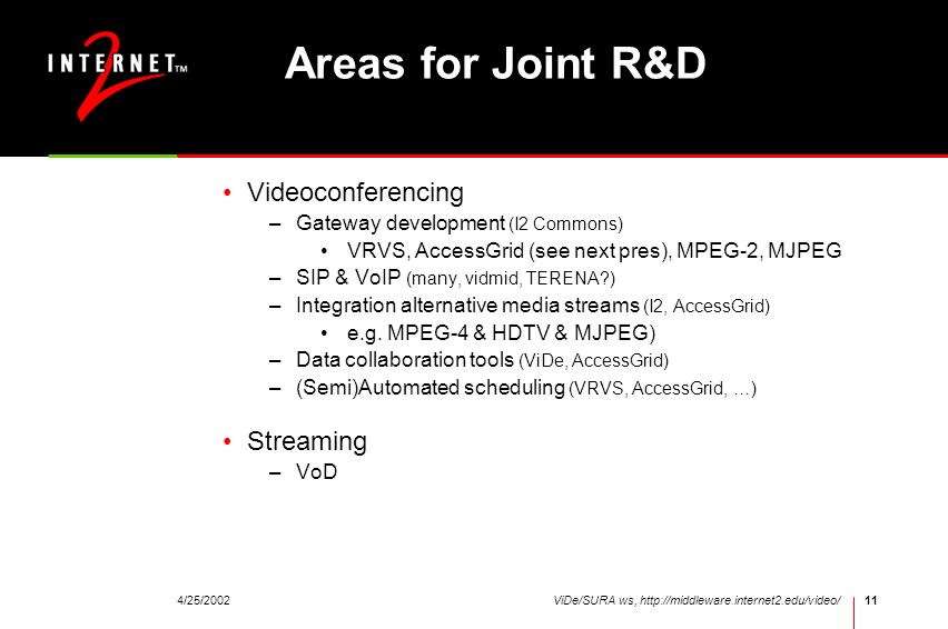 4/25/2002ViDe/SURA ws, http://middleware.internet2.edu/video/11 Areas for Joint R&D Videoconferencing –Gateway development (I2 Commons) VRVS, AccessGr