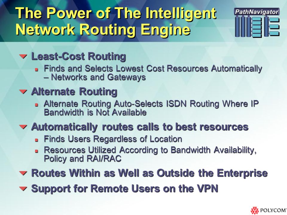 The Power of The Intelligent Network Routing Engine Least-Cost Routing Least-Cost Routing Finds and Selects Lowest Cost Resources Automatically – Networks and Gateways Finds and Selects Lowest Cost Resources Automatically – Networks and Gateways Alternate Routing Alternate Routing Alternate Routing Auto-Selects ISDN Routing Where IP Bandwidth is Not Available Alternate Routing Auto-Selects ISDN Routing Where IP Bandwidth is Not Available Automatically routes calls to best resources Automatically routes calls to best resources Finds Users Regardless of Location Finds Users Regardless of Location Resources Utilized According to Bandwidth Availability, Policy and RAI/RAC Resources Utilized According to Bandwidth Availability, Policy and RAI/RAC Routes Within as Well as Outside the Enterprise Routes Within as Well as Outside the Enterprise Support for Remote Users on the VPN Support for Remote Users on the VPN PathNavigator