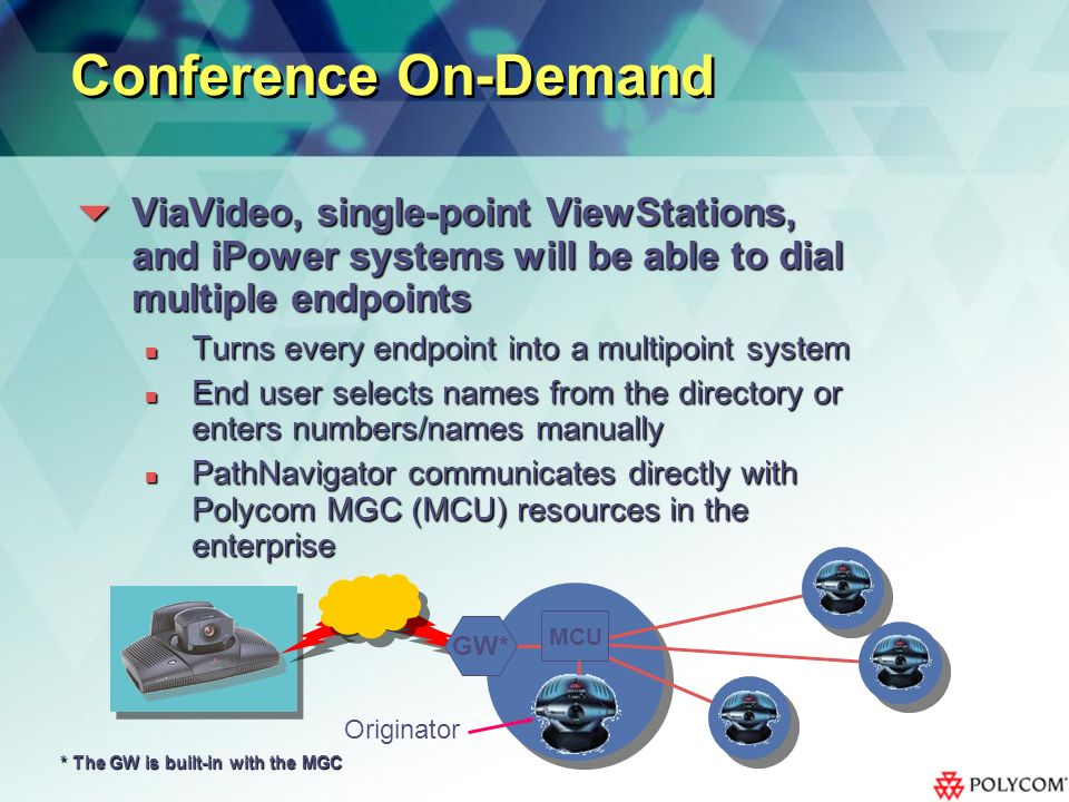 Originator Conference On-Demand ViaVideo, single-point ViewStations, and iPower systems will be able to dial multiple endpoints ViaVideo, single-point ViewStations, and iPower systems will be able to dial multiple endpoints Turns every endpoint into a multipoint system Turns every endpoint into a multipoint system End user selects names from the directory or enters numbers/names manually End user selects names from the directory or enters numbers/names manually PathNavigator communicates directly with Polycom MGC (MCU) resources in the enterprise PathNavigator communicates directly with Polycom MGC (MCU) resources in the enterprise GW* MCU * The GW is built-in with the MGC