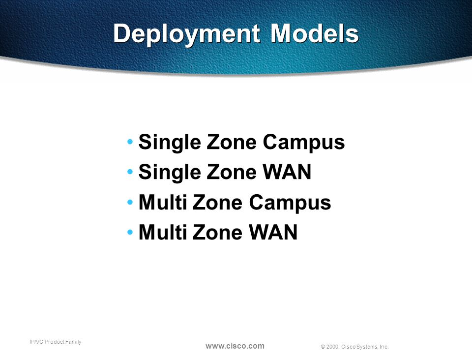 © 2000, Cisco Systems, Inc. www.cisco.com IP/VC Product Family Deployment Models Single Zone Campus Single Zone WAN Multi Zone Campus Multi Zone WAN