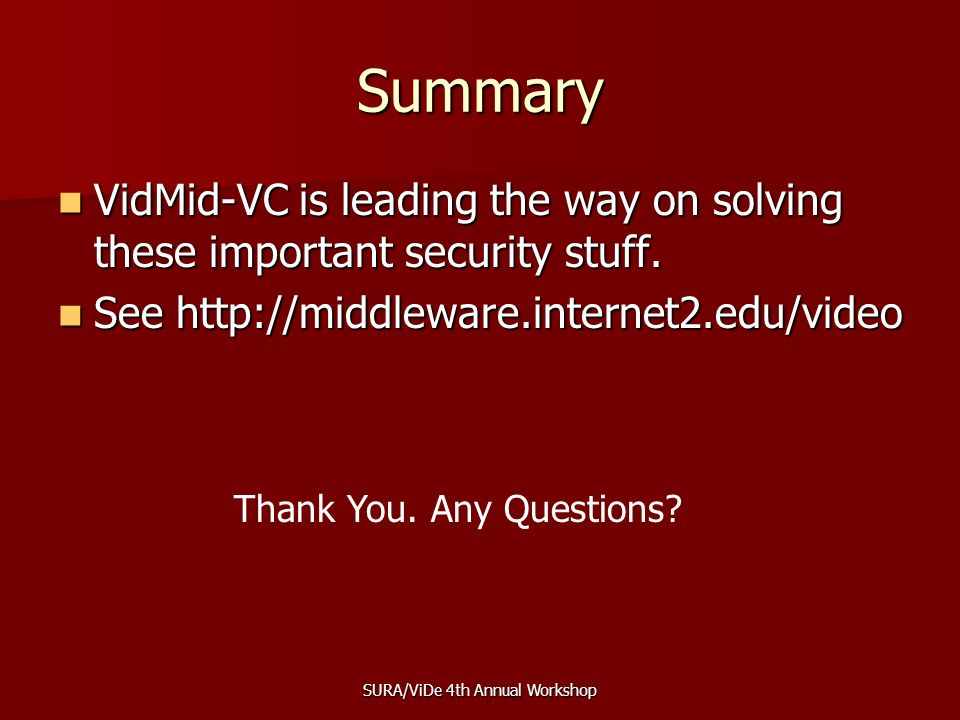 SURA/ViDe 4th Annual Workshop Summary VidMid-VC is leading the way on solving these important security stuff.