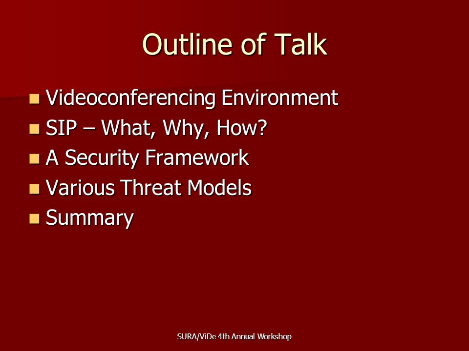 SURA/ViDe 4th Annual Workshop Outline of Talk Videoconferencing Environment Videoconferencing Environment SIP – What, Why, How.