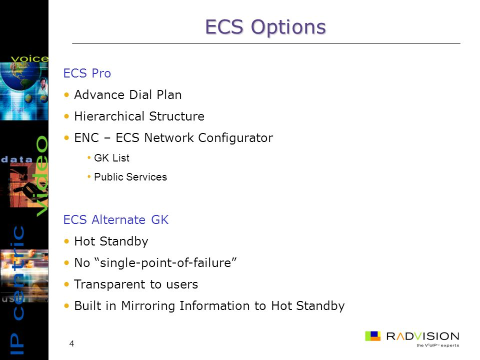4 ECS Pro Advance Dial Plan Hierarchical Structure ENC – ECS Network Configurator GK List Public Services ECS Alternate GK Hot Standby No single-point