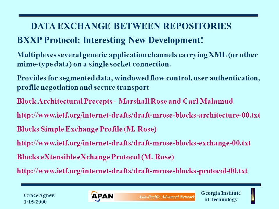 Georgia Institute of Technology Grace Agnew 1/15/2000 DATA EXCHANGE BETWEEN REPOSITORIES BXXP Protocol: Interesting New Development.