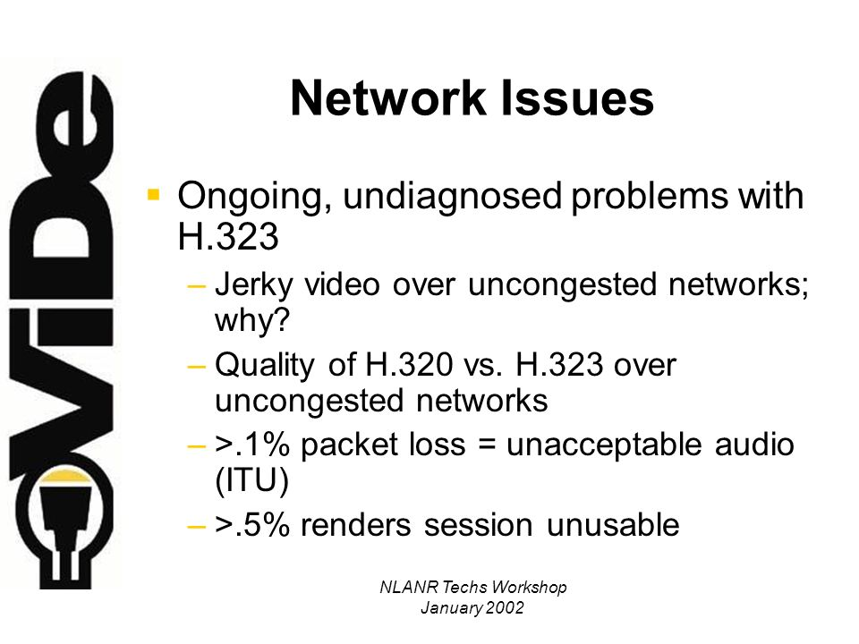 NLANR Techs Workshop January 2002 Network Issues Ongoing, undiagnosed problems with H.323 –Jerky video over uncongested networks; why.