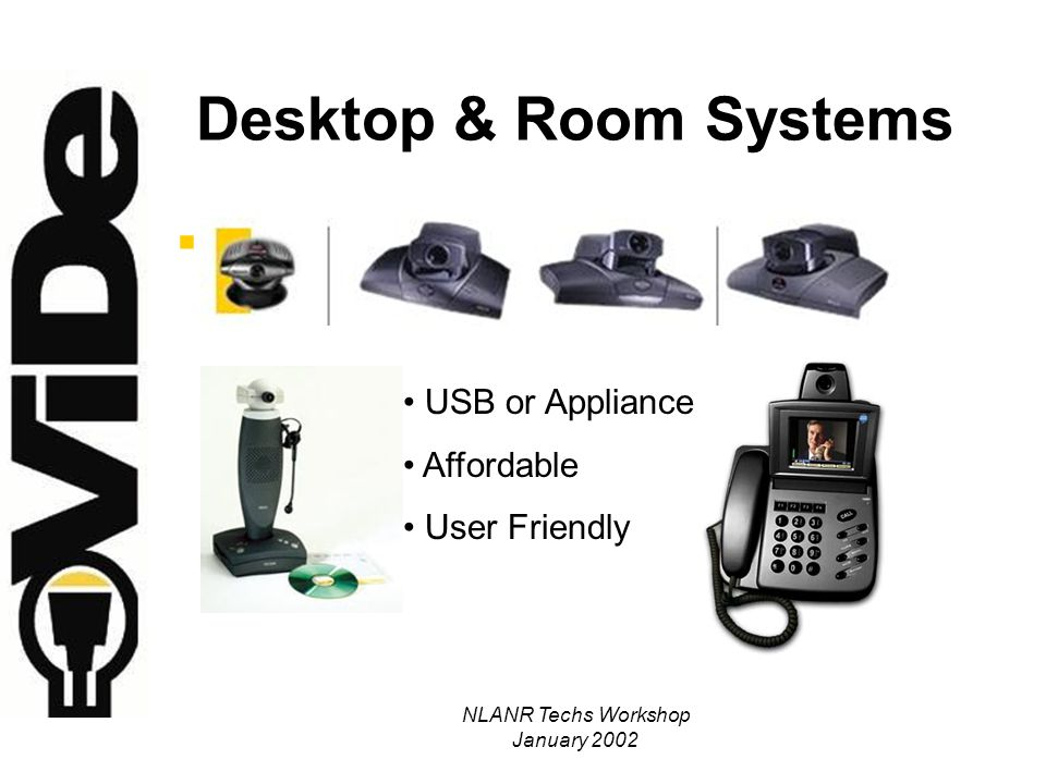 NLANR Techs Workshop January 2002 Desktop & Room Systems USB or Appliance Affordable User Friendly