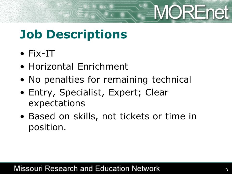 3 Job Descriptions Fix-IT Horizontal Enrichment No penalties for remaining technical Entry, Specialist, Expert; Clear expectations Based on skills, not tickets or time in position.