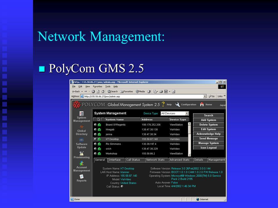 Network Management: PolyCom GMS 2.5 PolyCom GMS 2.5