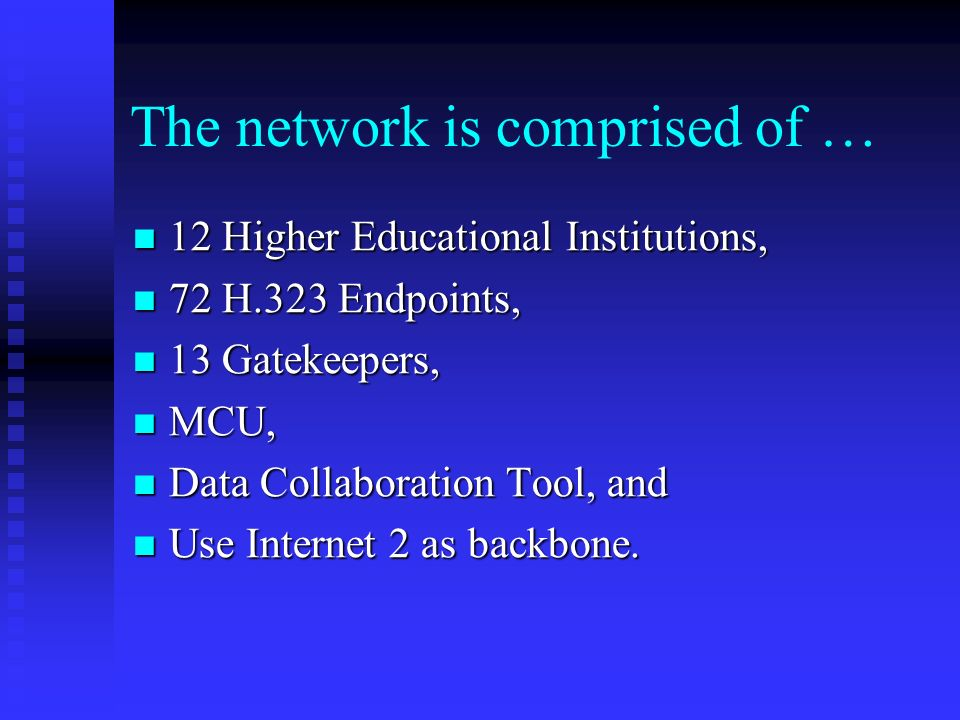 The network is comprised of … 12 Higher Educational Institutions, 12 Higher Educational Institutions, 72 H.323 Endpoints, 72 H.323 Endpoints, 13 Gatekeepers, 13 Gatekeepers, MCU, MCU, Data Collaboration Tool, and Data Collaboration Tool, and Use Internet 2 as backbone.