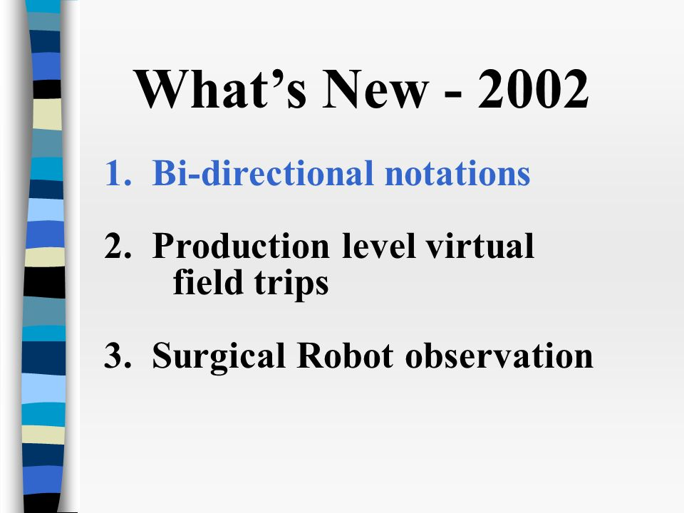 Whats New - 2002 1. Bi-directional notations 2. Production level virtual field trips 3.