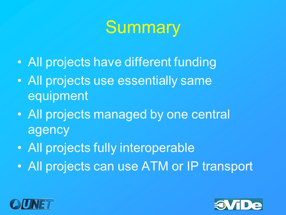 Summary All projects have different funding All projects use essentially same equipment All projects managed by one central agency All projects fully interoperable All projects can use ATM or IP transport