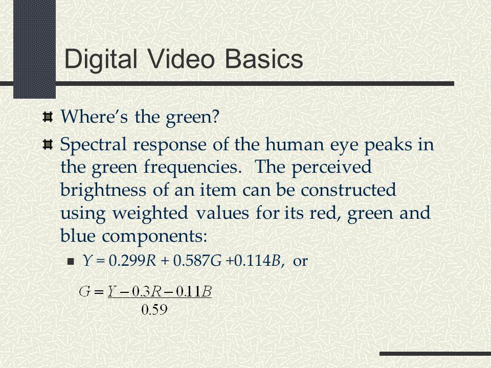Digital Video Basics 4:2:2 sampling4:2:0 sampling 4:1:1 sampling 4:2:2 – High End DV (Digital Betacam, DVCPro50) 4:2:0 – MPEG 1 & 2 4:1:1 – DV and DVCAM