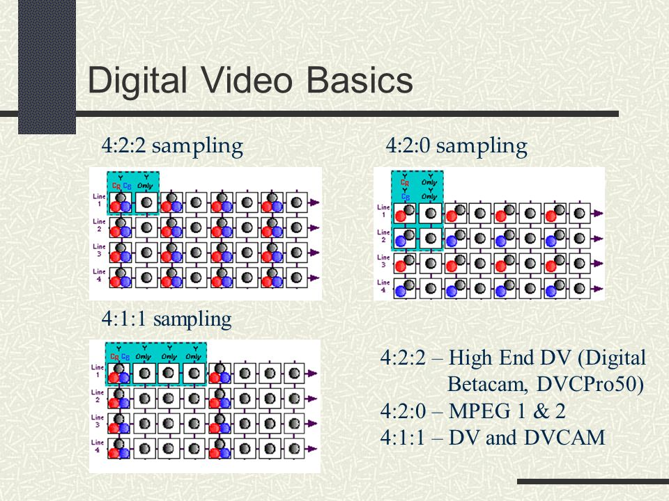 Digital Video Basics 4:2:2 sampling4:2:0 sampling 4:1:1 sampling 4:2:2 – High End DV (Digital Betacam, DVCPro50) 4:2:0 – MPEG 1 & 2 4:1:1 – DV and DVCAM