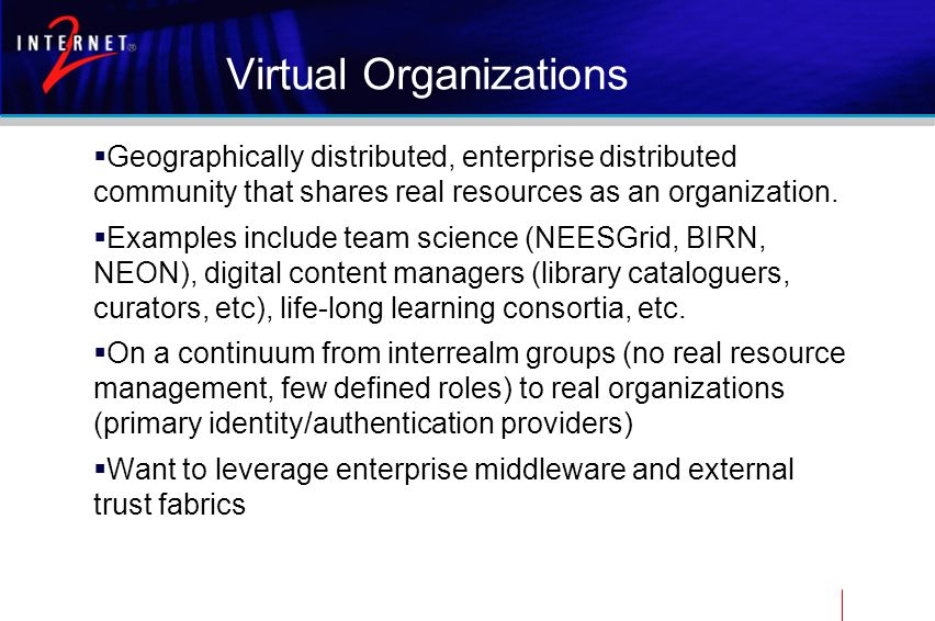 Virtual Organizations Geographically distributed, enterprise distributed community that shares real resources as an organization. Examples include tea