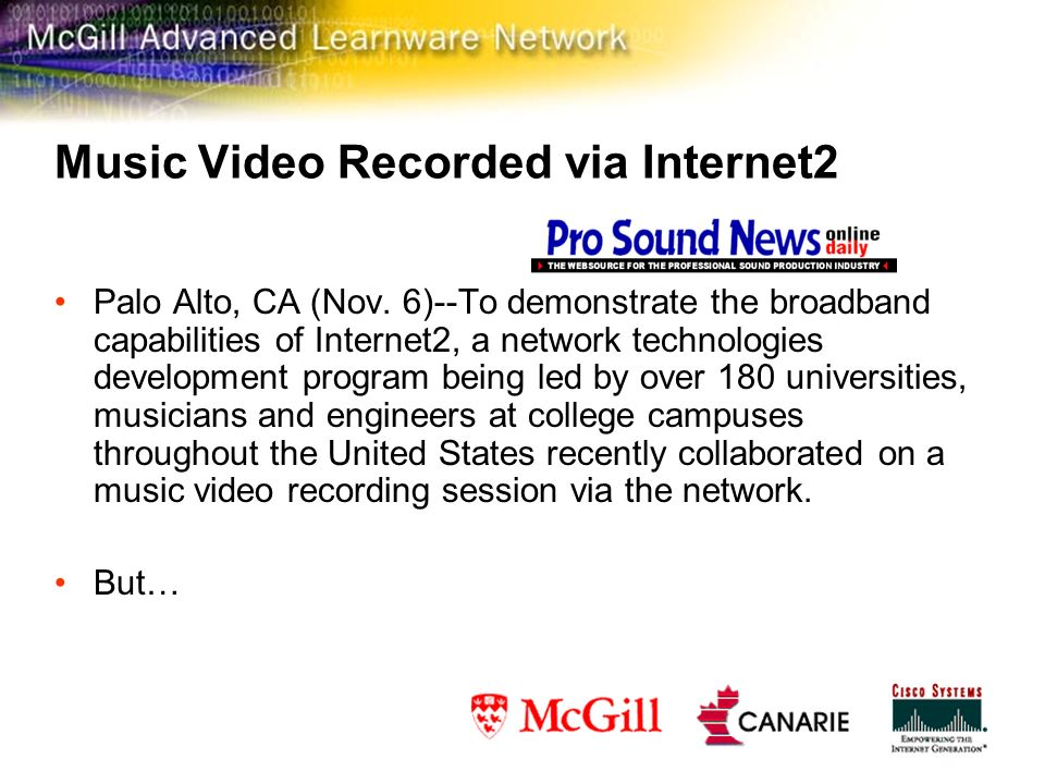 Music Video Recorded via Internet2 Palo Alto, CA (Nov.