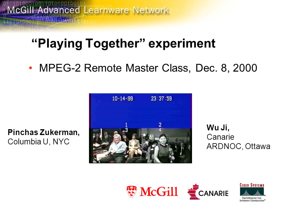 Playing Together experiment MPEG-2 Remote Master Class, Dec.