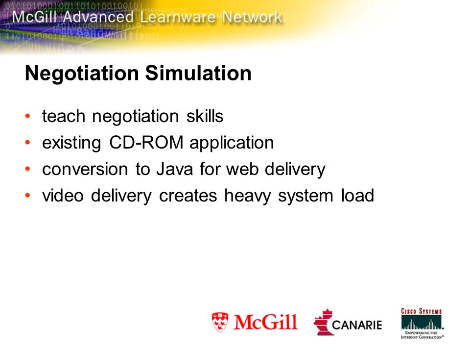 Negotiation Simulation teach negotiation skills existing CD-ROM application conversion to Java for web delivery video delivery creates heavy system load
