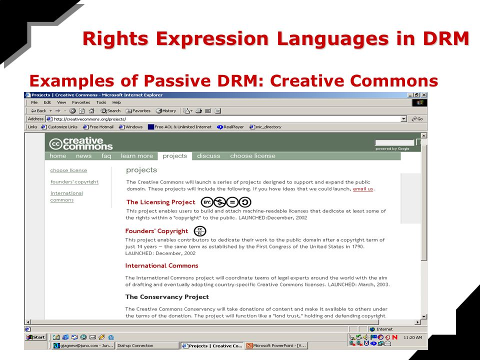 Rights Expression Languages in DRM Examples of Passive DRM: Creative Commons