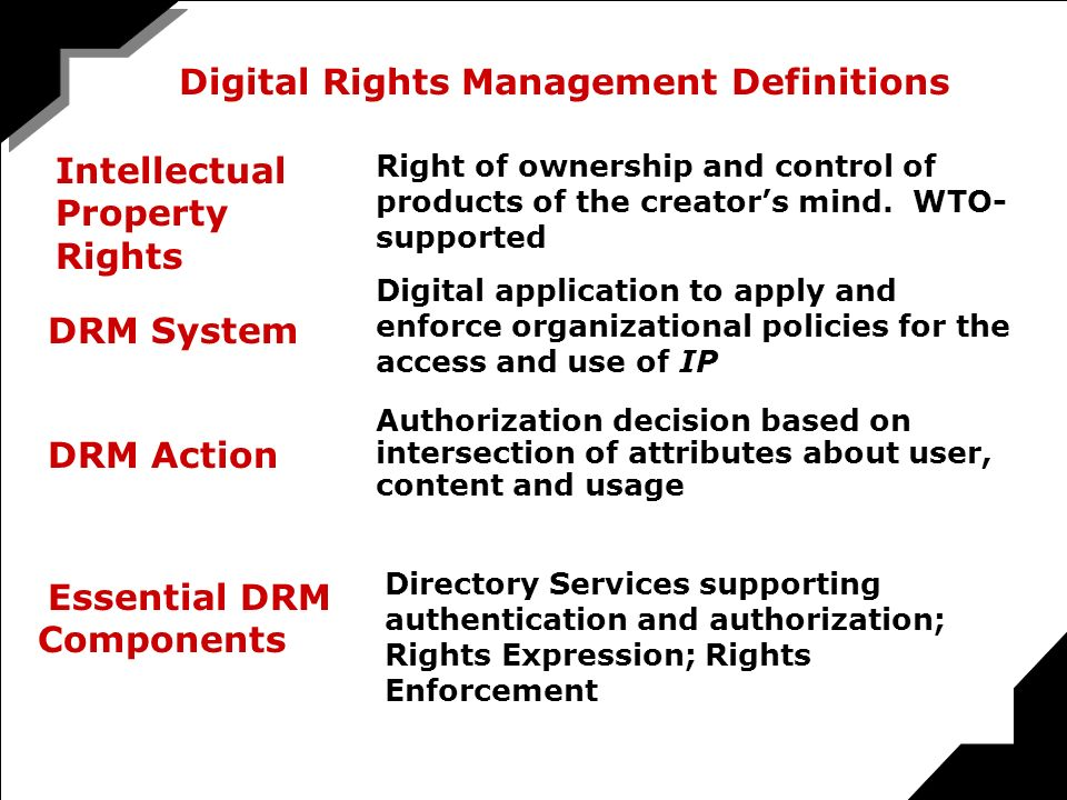 Digital Rights Management Definitions DRM Action Authorization decision based on intersection of attributes about user, content and usage DRM System Digital application to apply and enforce organizational policies for the access and use of IP Essential DRM Components Directory Services supporting authentication and authorization; Rights Expression; Rights Enforcement METADATA FOR DIGITAL RIGHTS Intellectual Property Rights Right of ownership and control of products of the creators mind.