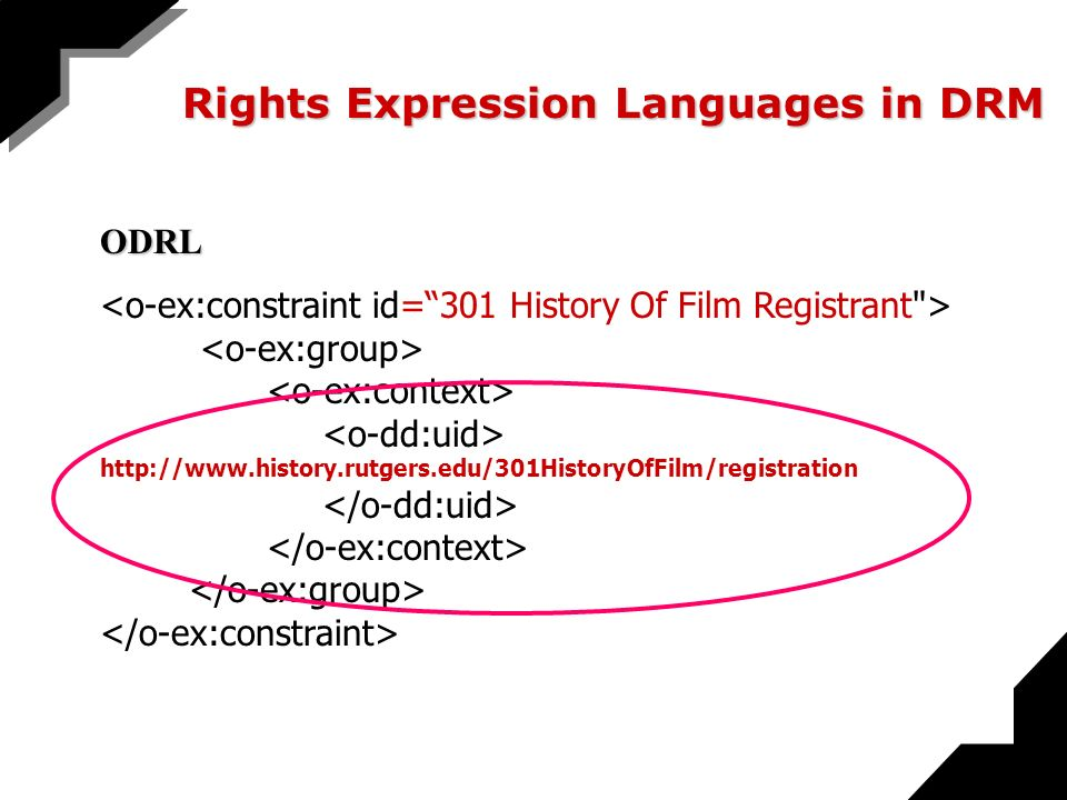 Rights Expression Languages in DRM ODRL http://www.history.rutgers.edu/301HistoryOfFilm/registration