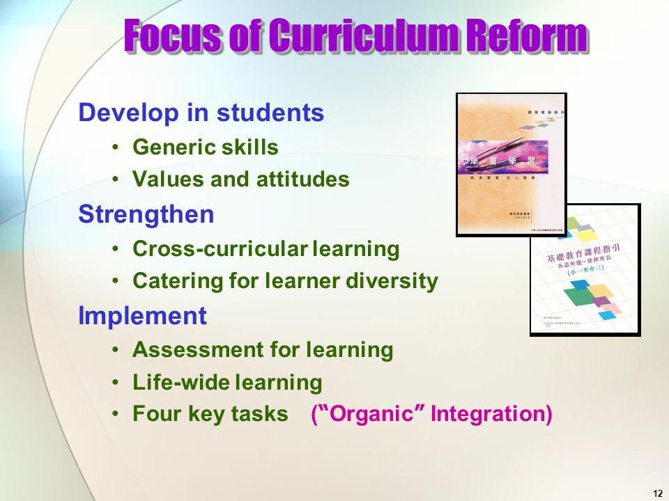 11 Trimming and restructuring the curriculum Re-engineering work process to reduce unnecessary administrative workload of teaching staff Reducing excess tests and examinations Planning the time-table flexibly Make good use of various grants Sharing good practices and learning and teaching materials with peers Motivate students to learn in various environments using a range of diverse and appropriate strategies Building on Strengths