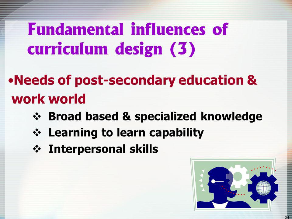 33 Fundamental influences of curriculum design (2) Views of learning by acquisition contextualised & personal construction collaborative construction rich experiences enhance capacity to adapt to change