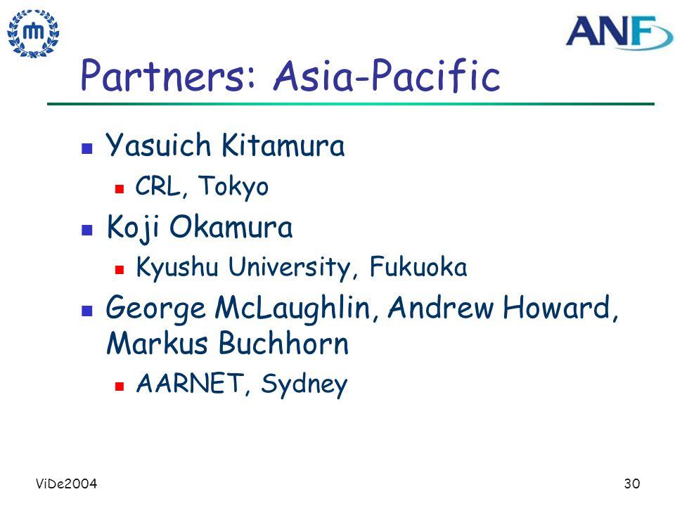 ViDe200430 Partners: Asia-Pacific Yasuich Kitamura CRL, Tokyo Koji Okamura Kyushu University, Fukuoka George McLaughlin, Andrew Howard, Markus Buchhorn AARNET, Sydney