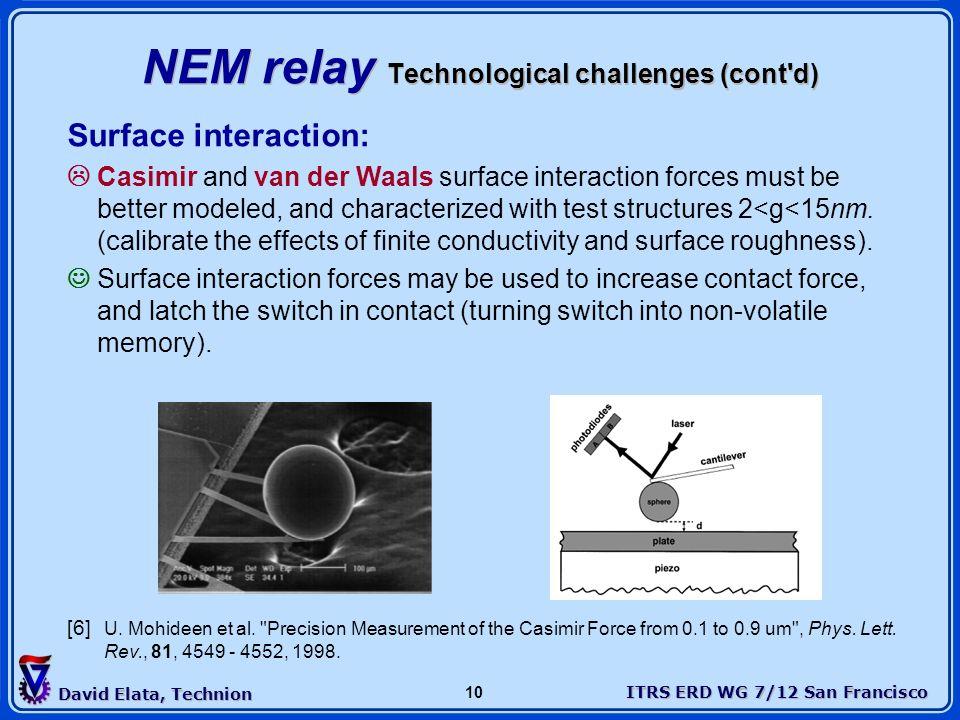 ITRS ERD WG 7/12 San Francisco David Elata, Technion 10 NEM relay Technological challenges (cont'd) Surface interaction: Casimir and van der Waals sur