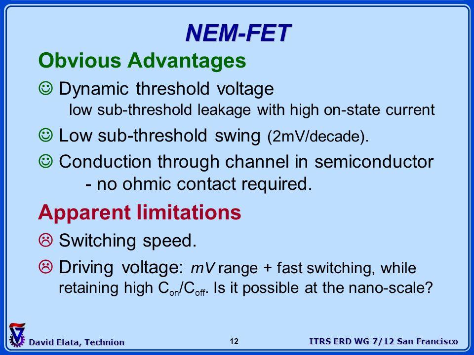 ITRS ERD WG 7/12 San Francisco David Elata, Technion 12 NEM-FET Obvious Advantages Dynamic threshold voltage low sub-threshold leakage with high on-st
