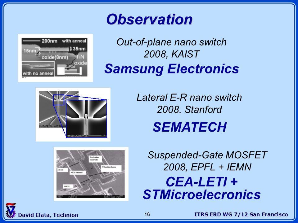 ITRS ERD WG 7/12 San Francisco David Elata, Technion 16 Observation Out-of-plane nano switch 2008, KAIST Samsung Electronics Lateral E-R nano switch 2